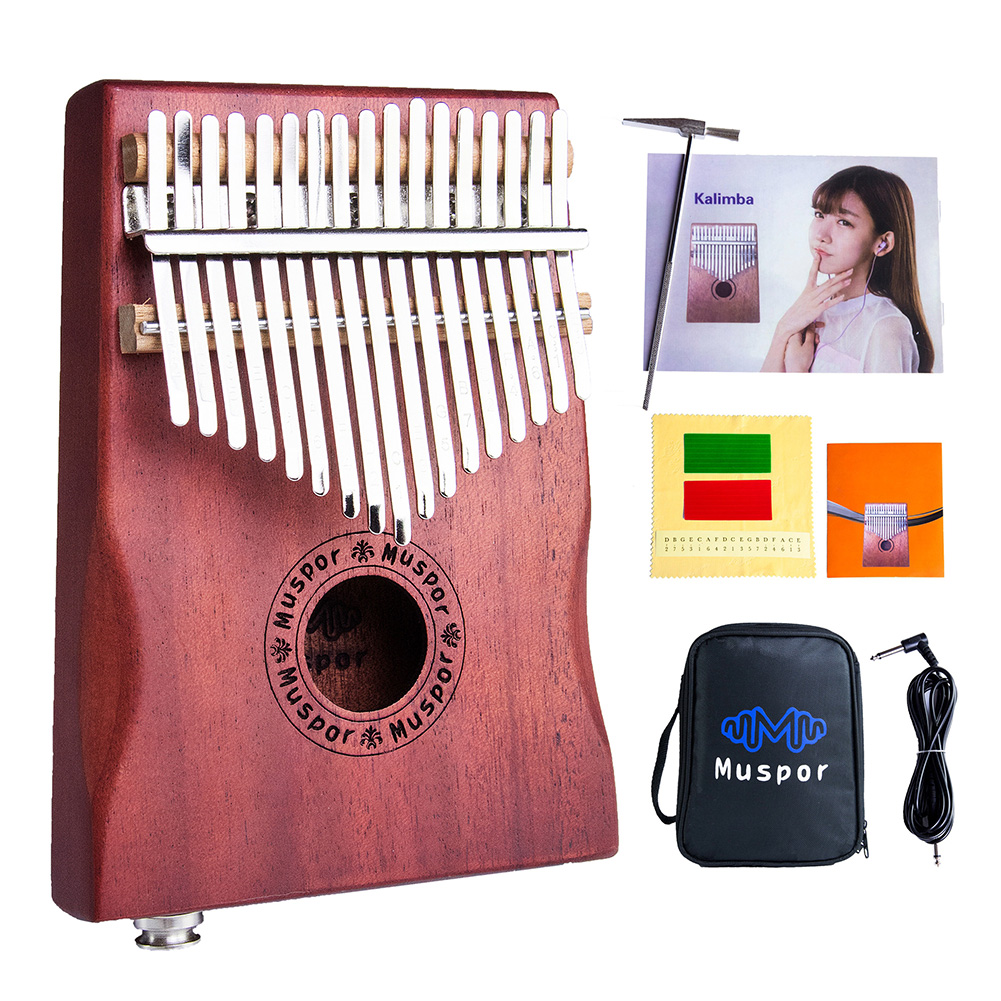 17-Key EQ Kalimba Mahogany Professional Electric Finger Thumb Piano With Bag and Audio Cable Wood color