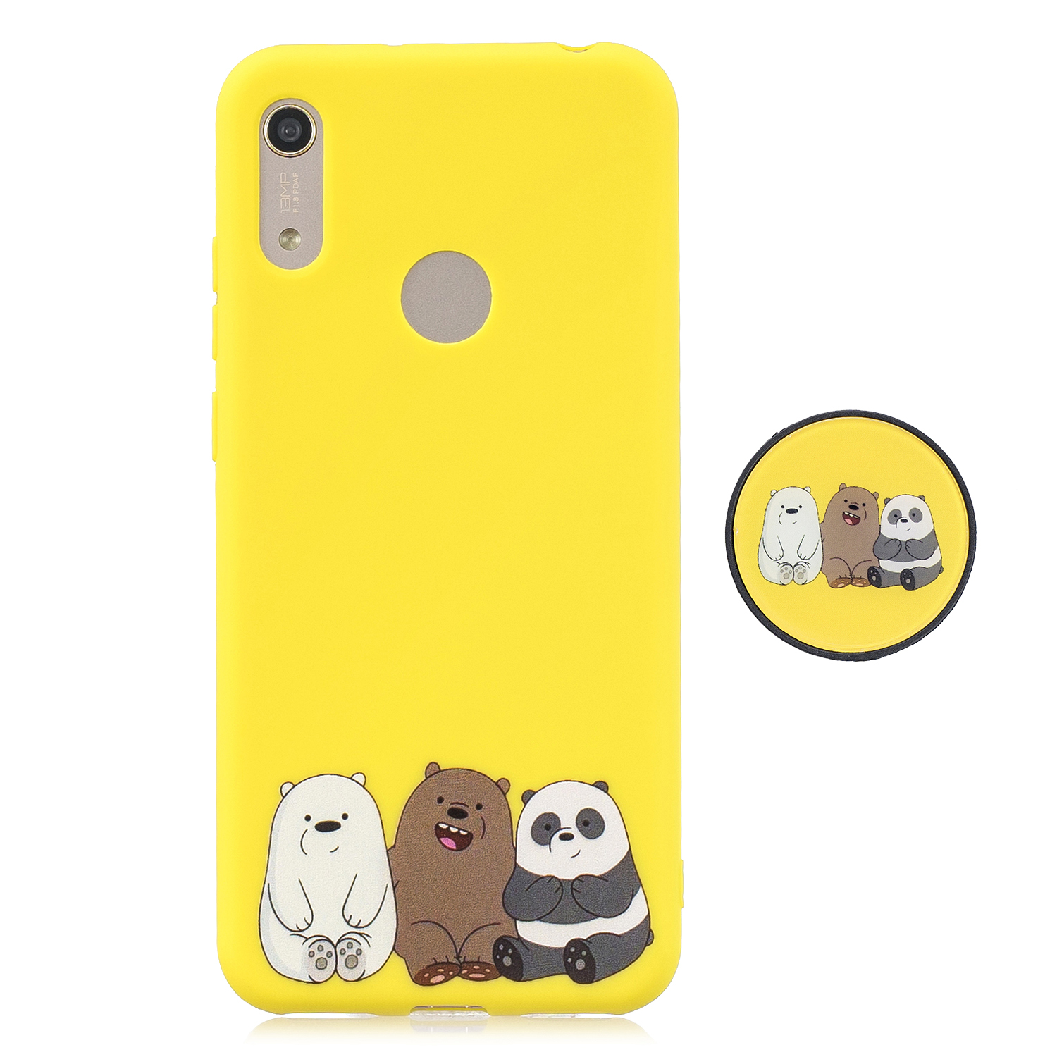 For HUAWEI Y6 2019 Flexible Stand Holder Case Soft TPU Full Cover Case Phone Cover Cute Phone Case 7