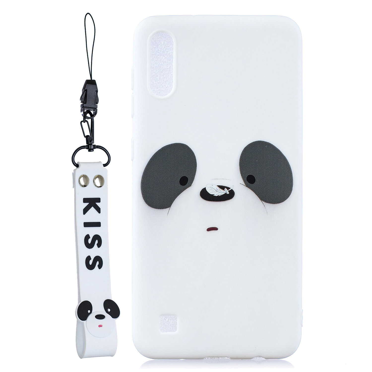 For Samsung A10 Cartoon Lovely Coloured Painted Soft TPU Back Cover Non-slip Shockproof Full Protective Case with Lanyard white