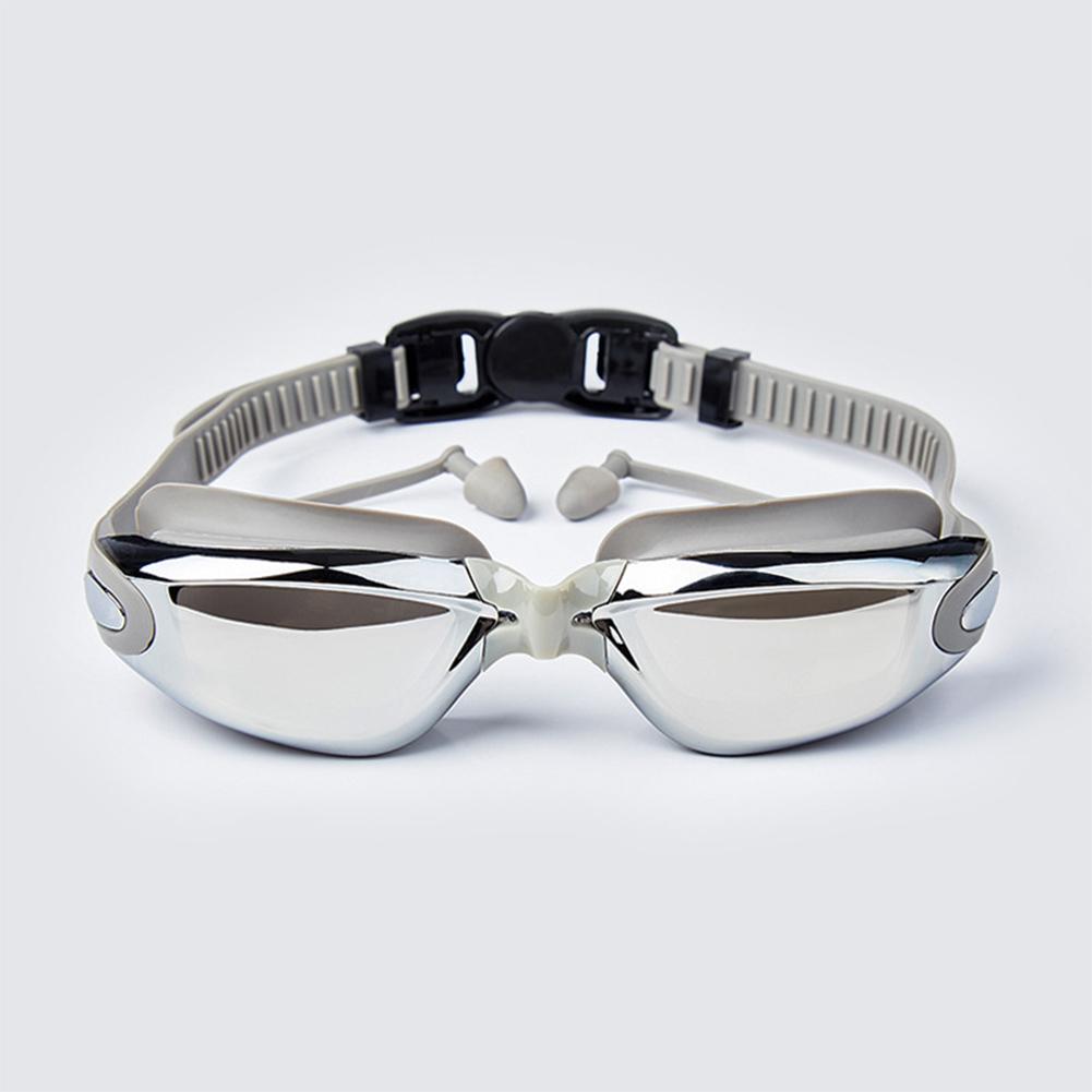 Swimming Goggles with Earplugs Plated Waterproof and Anti-fog Earplugs Unisex  Electroplated gray flat light