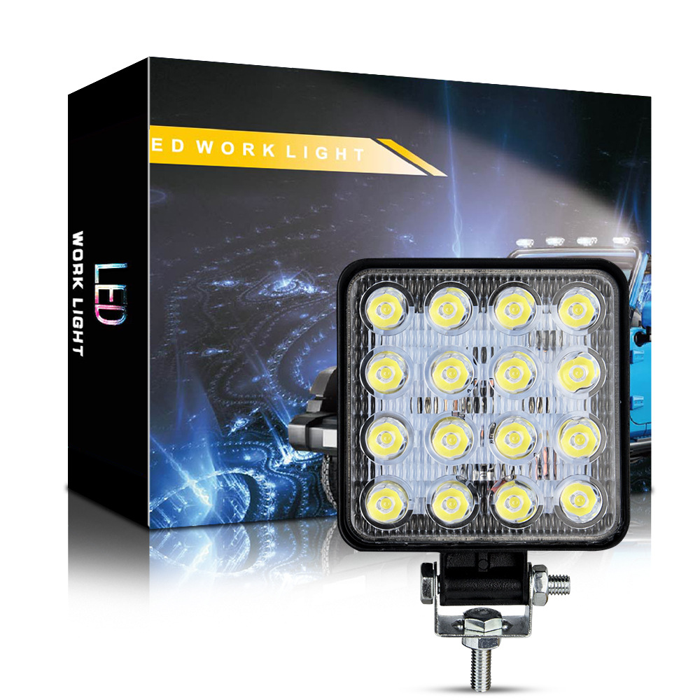 48W 6000k LED Spot Beam Square Work Lights Lamp Tractor SUV Truck 4WD 12V 24V waterproof Automobile LED working light White light