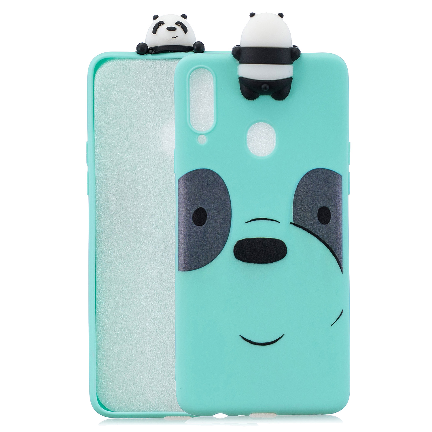 For Samsung A10S A20S Color Painting 3D Cartoon Animal Full Protective Soft TPU Mobile Phone Case Light blue