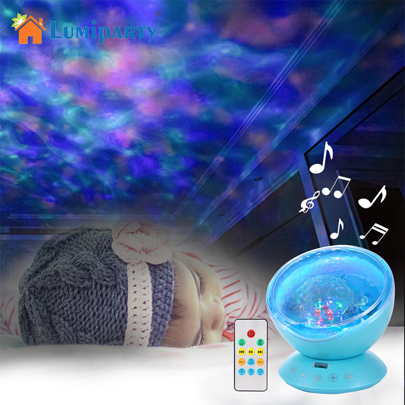 Ocean Wave Projector LED Night Light with Music Player Remote Control Lamp RGB_blue