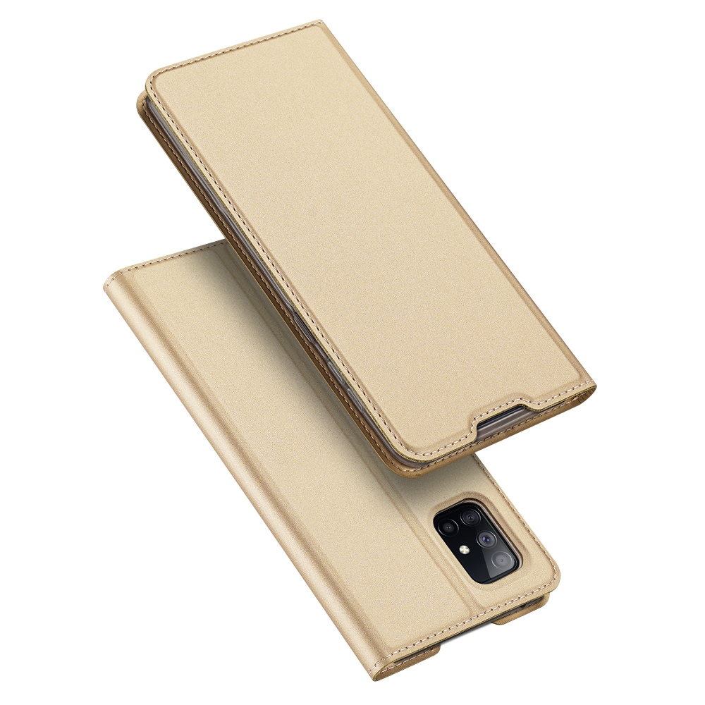 DUX DUCIS for Samsung A21s/A51 5G Magnetic Protective Case Bracket with Card Slot Leather Mobile Phone Cover Tyrant Gold
