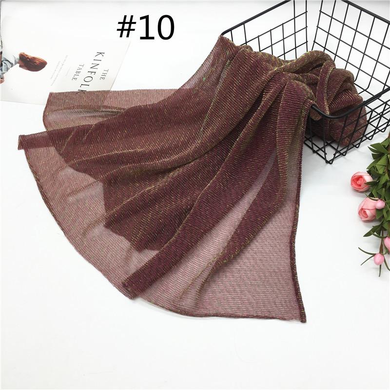 Women Pleat Solid Color Thin Gauze Scarf Muslim Shawl 10#_180cm