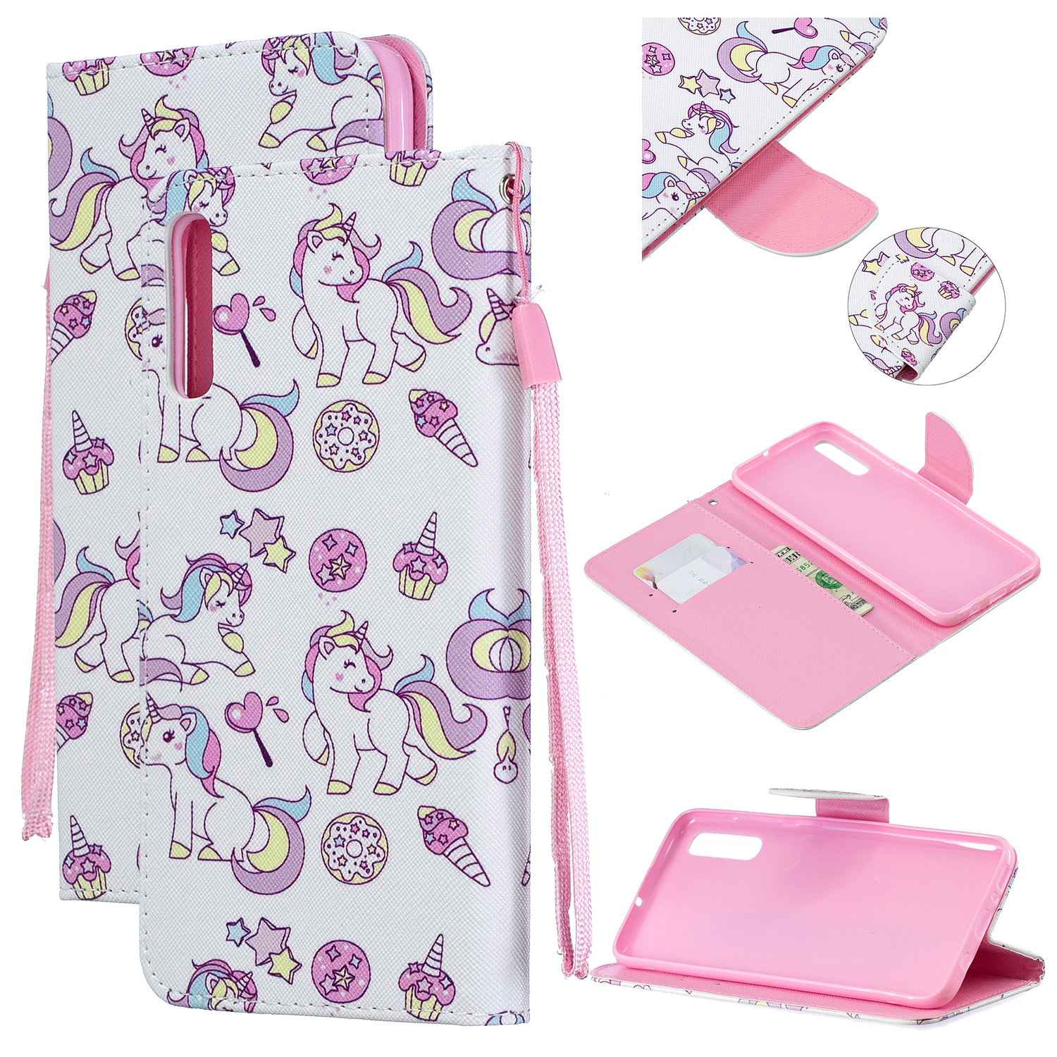 For Samsung A50/A70 Smartphone Case Overall Protective Phone Shell Lovely PU Leather Cellphone Cover with Card Slots  Ice cream unicorn