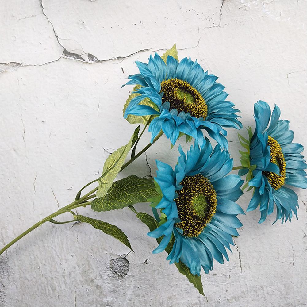 3 Heads Sunflower Artificial Flowers Bouquet Home Wedding Decor DIY Crafts blue_63cm