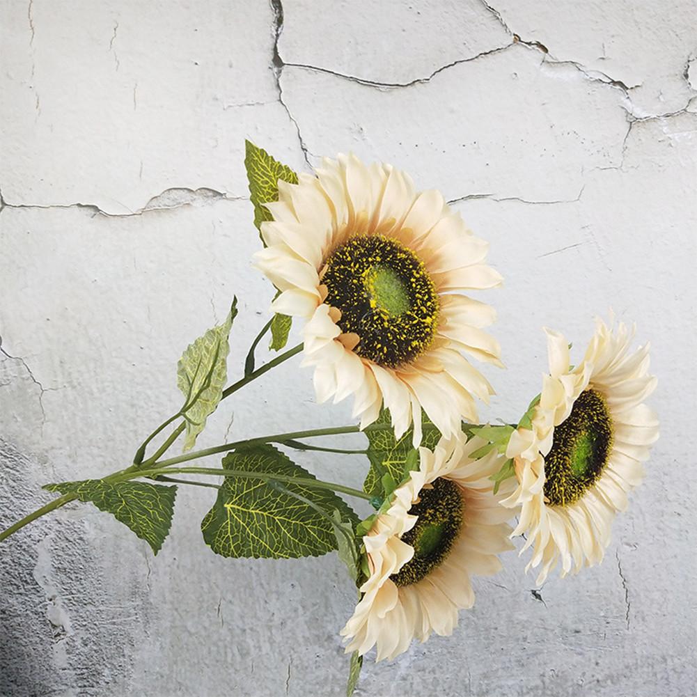 3 Heads Sunflower Artificial Flowers Bouquet Home Wedding Decor DIY Crafts white_63cm