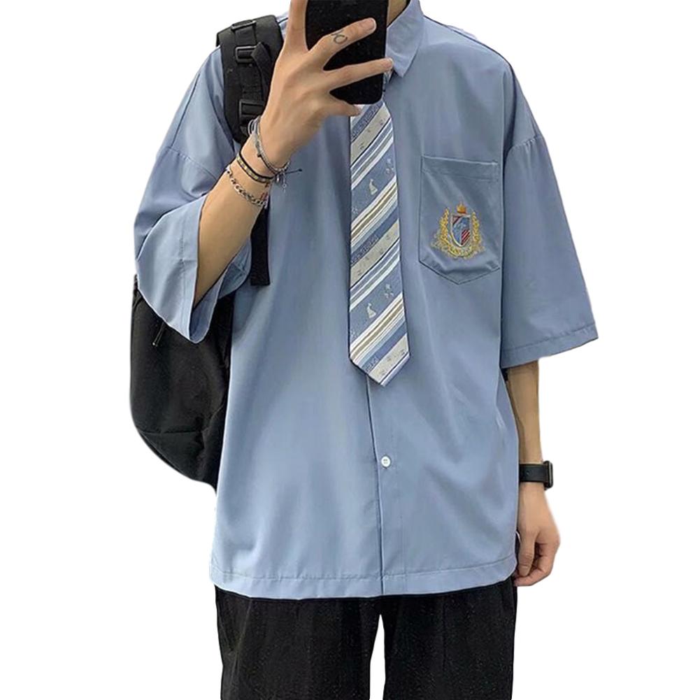 Men's Shirt Summer All-match Loose Short-sleeve Uniform Shirts with Tie Blue _XL