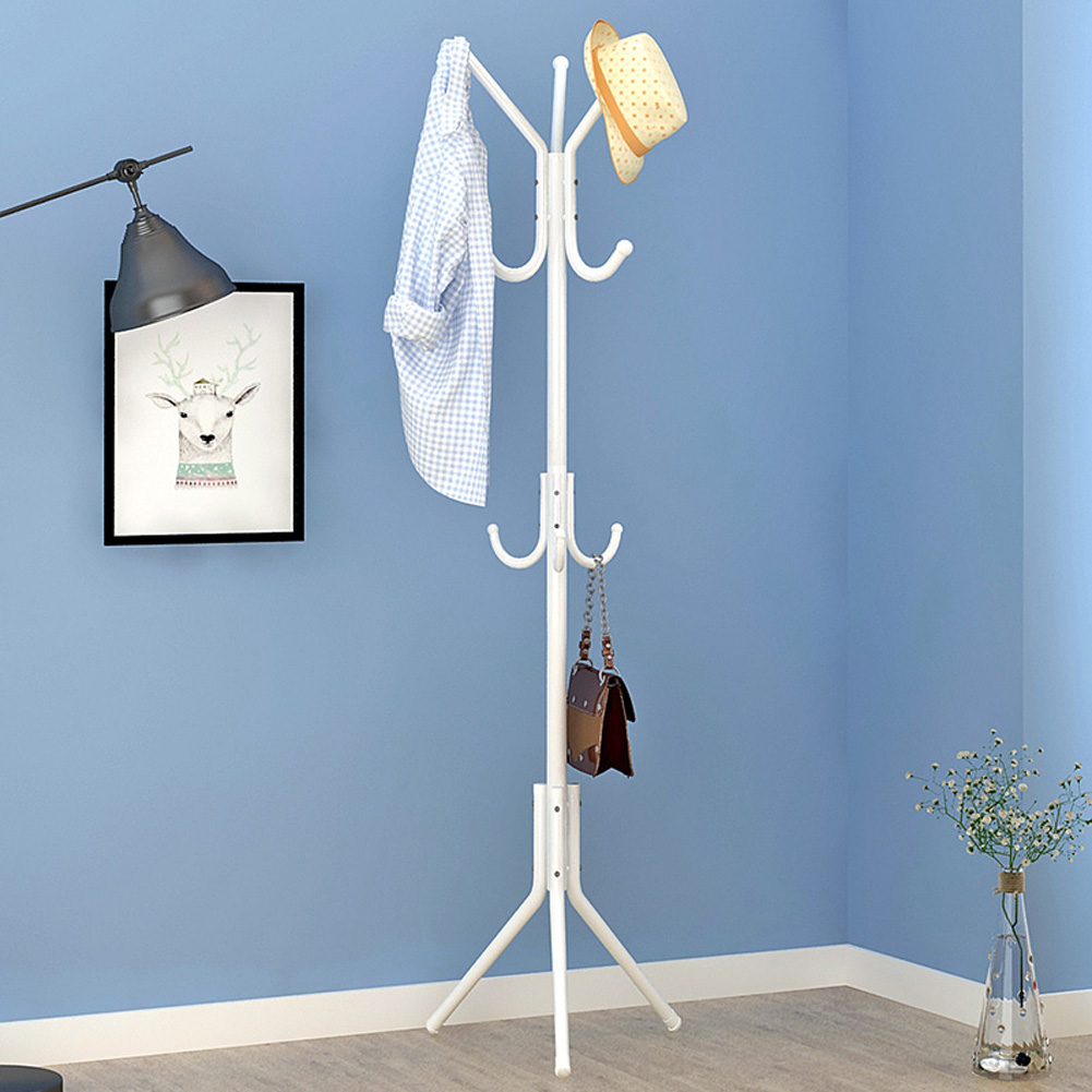 Metal Coat Rack Assembled Living Room Hat Clothing Display Stand Home Furniture 43*43*172cm White_HBY906S