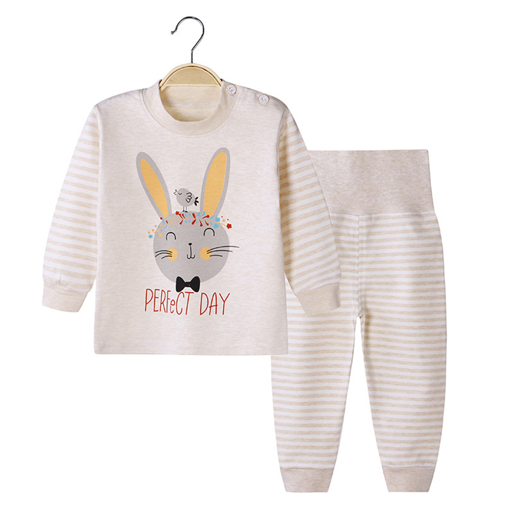 2 Pcs/set Children's Underwear Set Cotton Cartoon Long Sleeve + High Waist Trousers for 0-3 Years Old Kids (High waist) Rabbit_73
