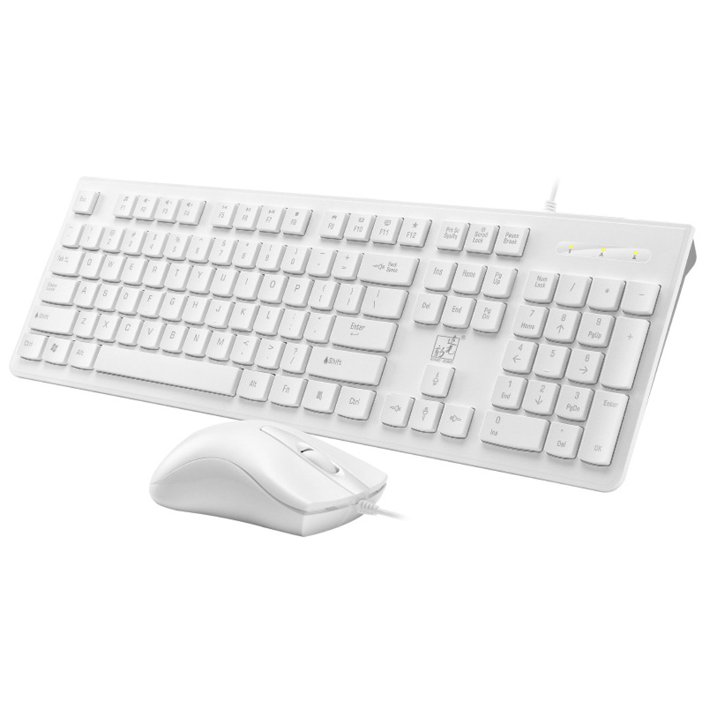 Keyboard Mouse Set S500 Business Office Wired Keyboard Mouse for Desktop Laptop Computer White square keycap