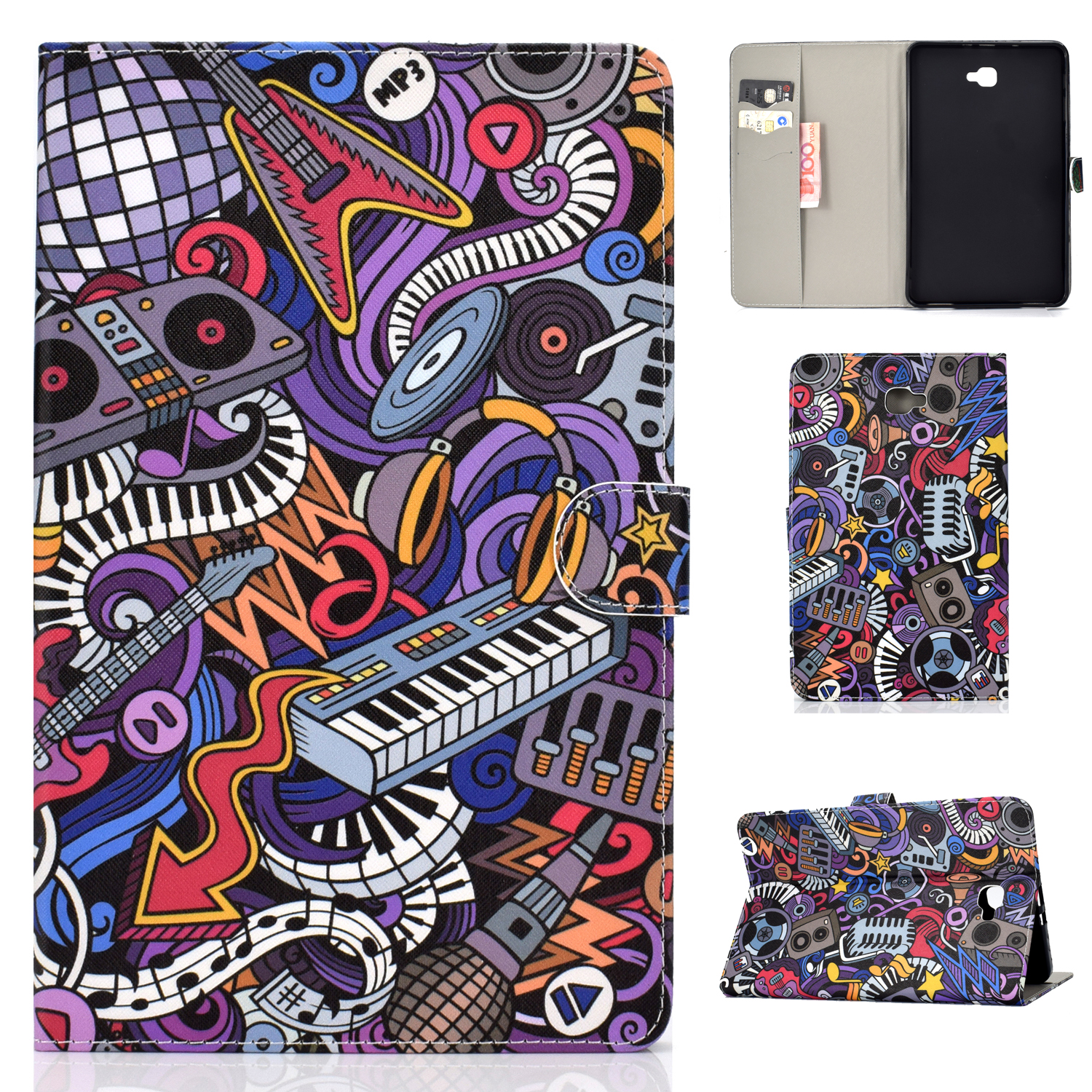 For Samsung T580 PU Laptop Protective Case with Front Snap Color Painted Smart Stay Cover  Graffiti