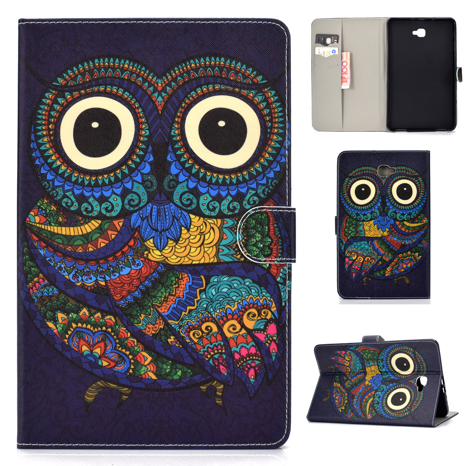 For Samsung T580 PU Laptop Protective Case with Front Snap Color Painted Smart Stay Cover  owl