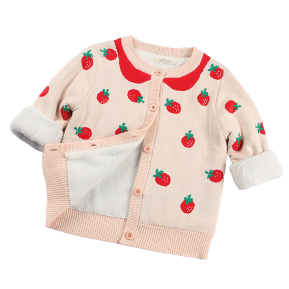Children Kids Pink Strawberry Shaped Jacquard Pattern Long Sleeve Knitting Tops Coat Pink [plus velvet]_4Y (110cm)