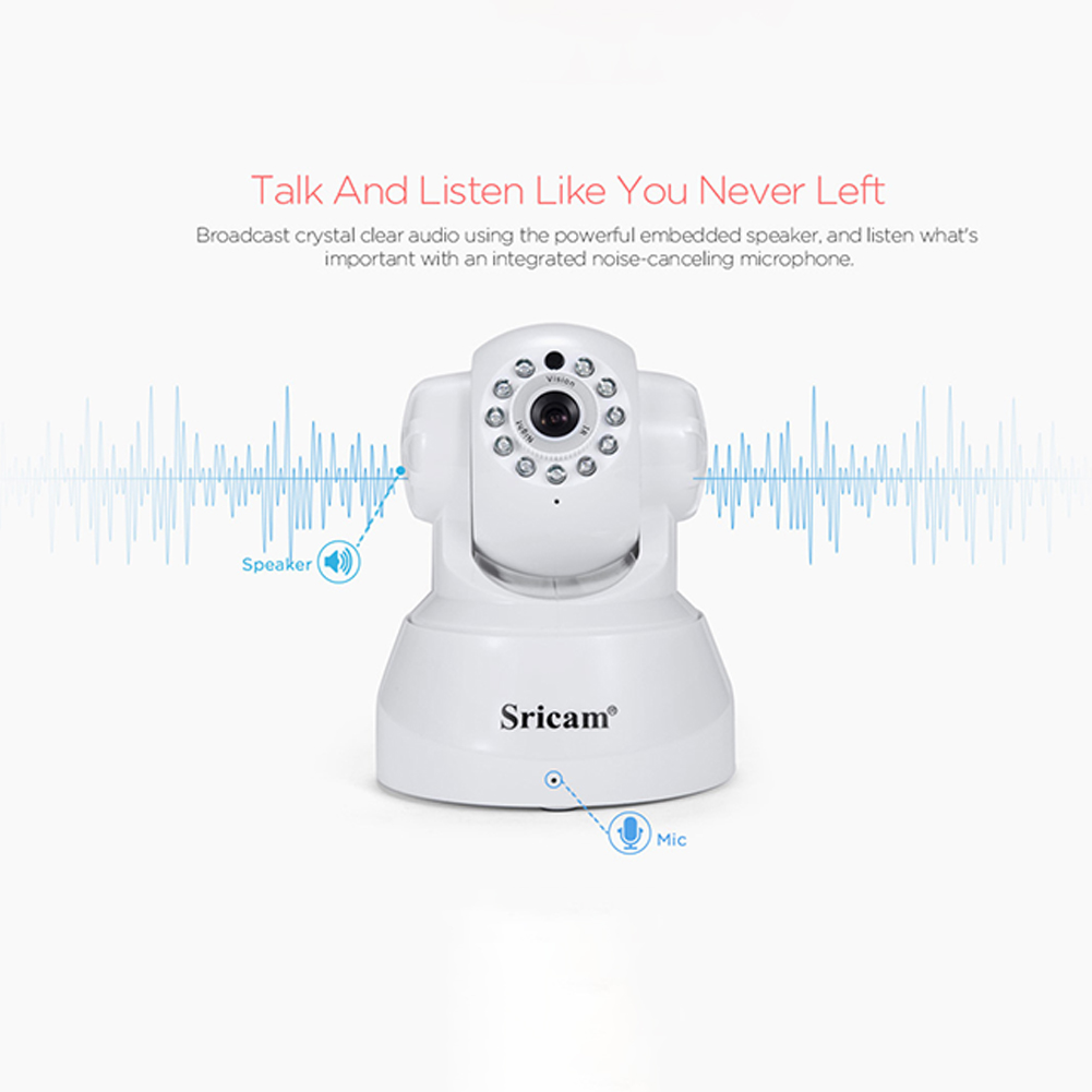 Sricam SP012 Wifi IP Camera Wireless HD P2P CCTV Baby Monitor Camera with IR-cut Two Way Video (White)