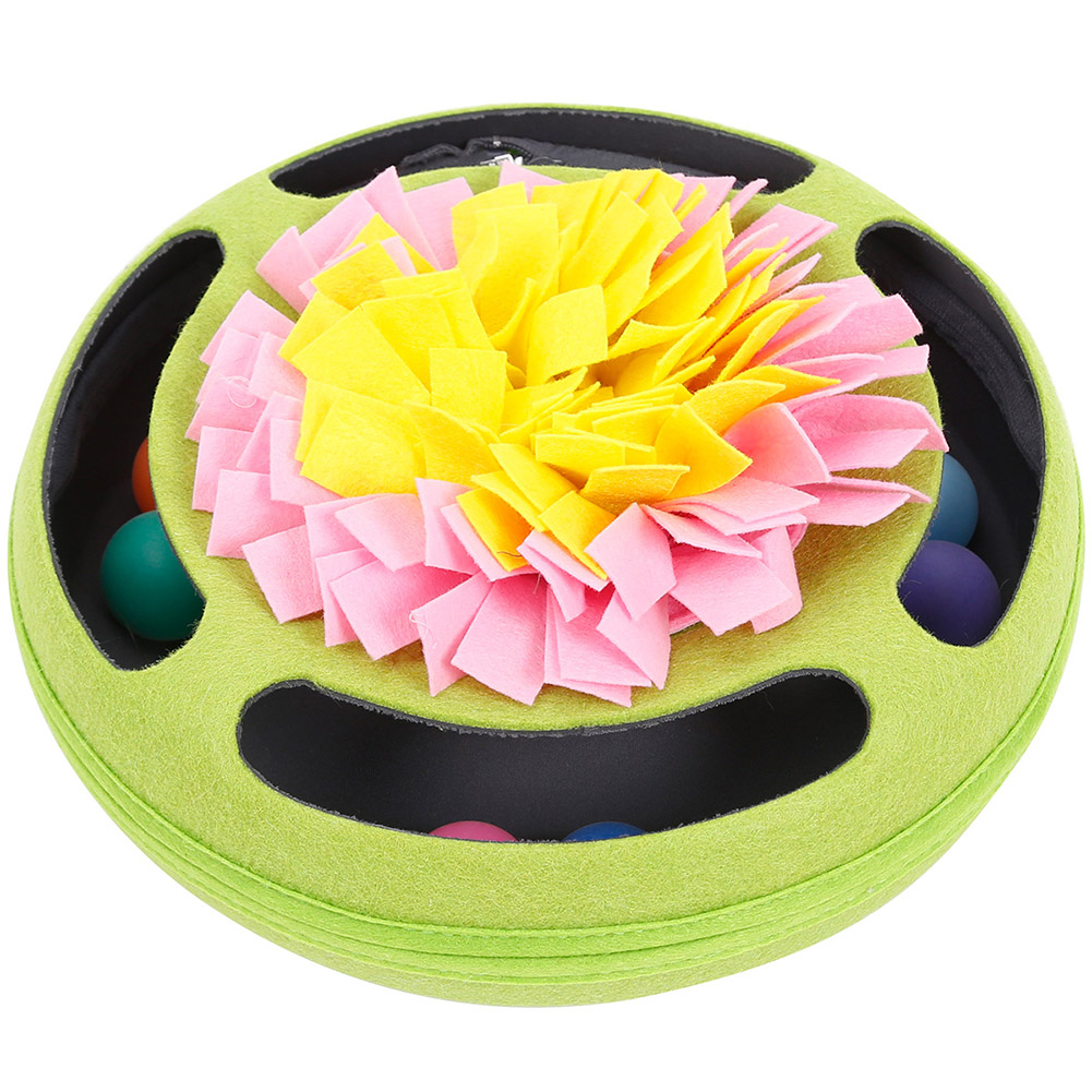 Pet Turntable Ball Track Interactive Toy Slow Feeding Training Snuffling Toy for Cats green_30*30*12CM