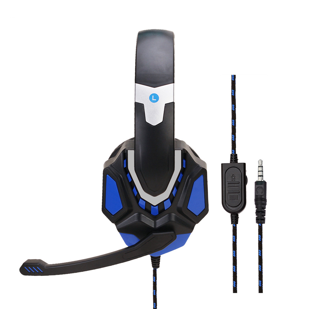 Non-lighting Gaming Headset Internet Cafe Headphone for PS4 Gaming Computer Switch Black blue PS4