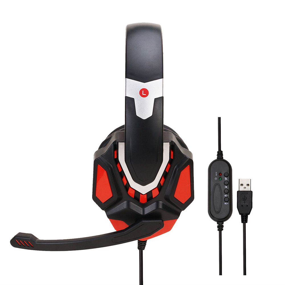 Non-lighting Gaming Headset Internet Cafe Headphone for PS4 Gaming Computer Switch Black red USB