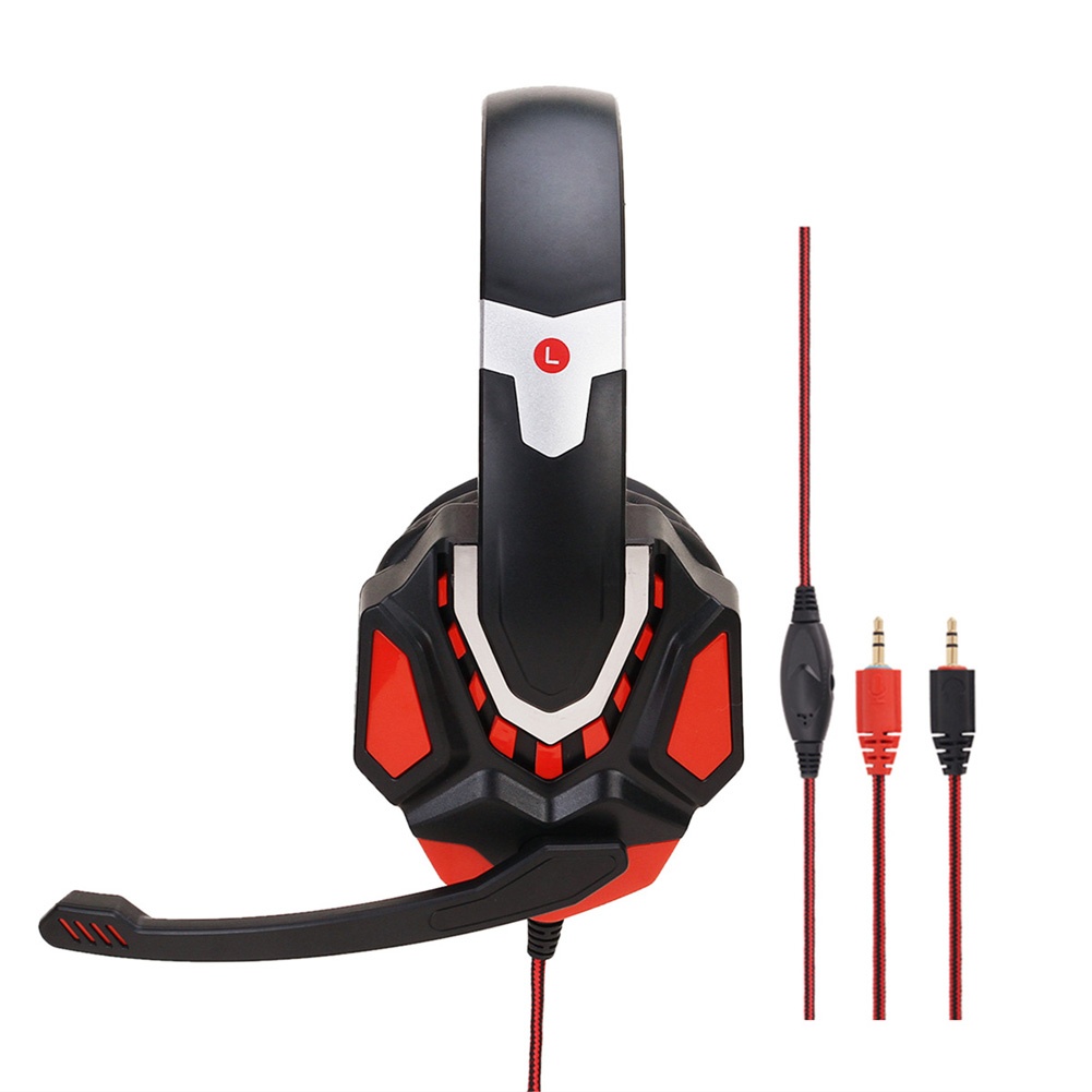 Non-lighting Gaming Headset Internet Cafe Headphone for PS4 Gaming Computer Switch Black Red PC