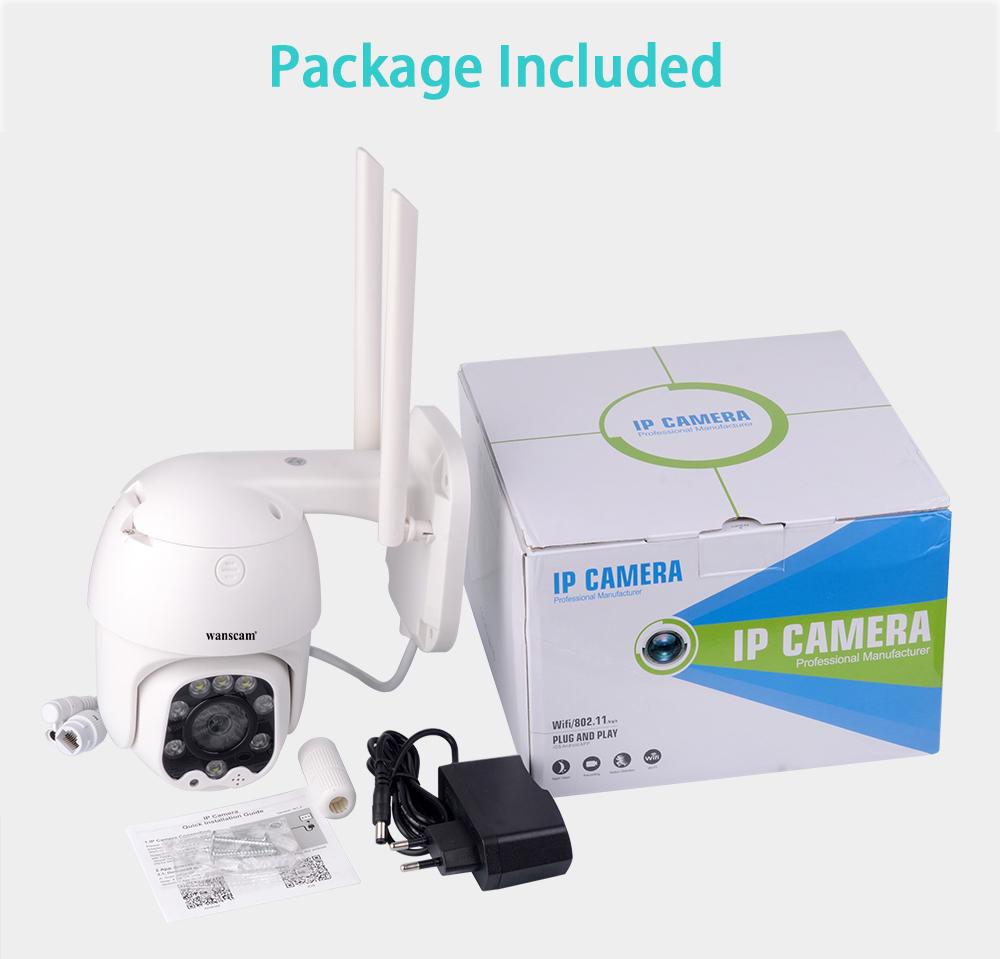 Wanscam K48C 1080P WiFi IP Camera Motion Detect Auto-Tracking PTZ 4X Zoom 2-way Audio P2P CCTV Security Outdoor Dome Cam EU Plug