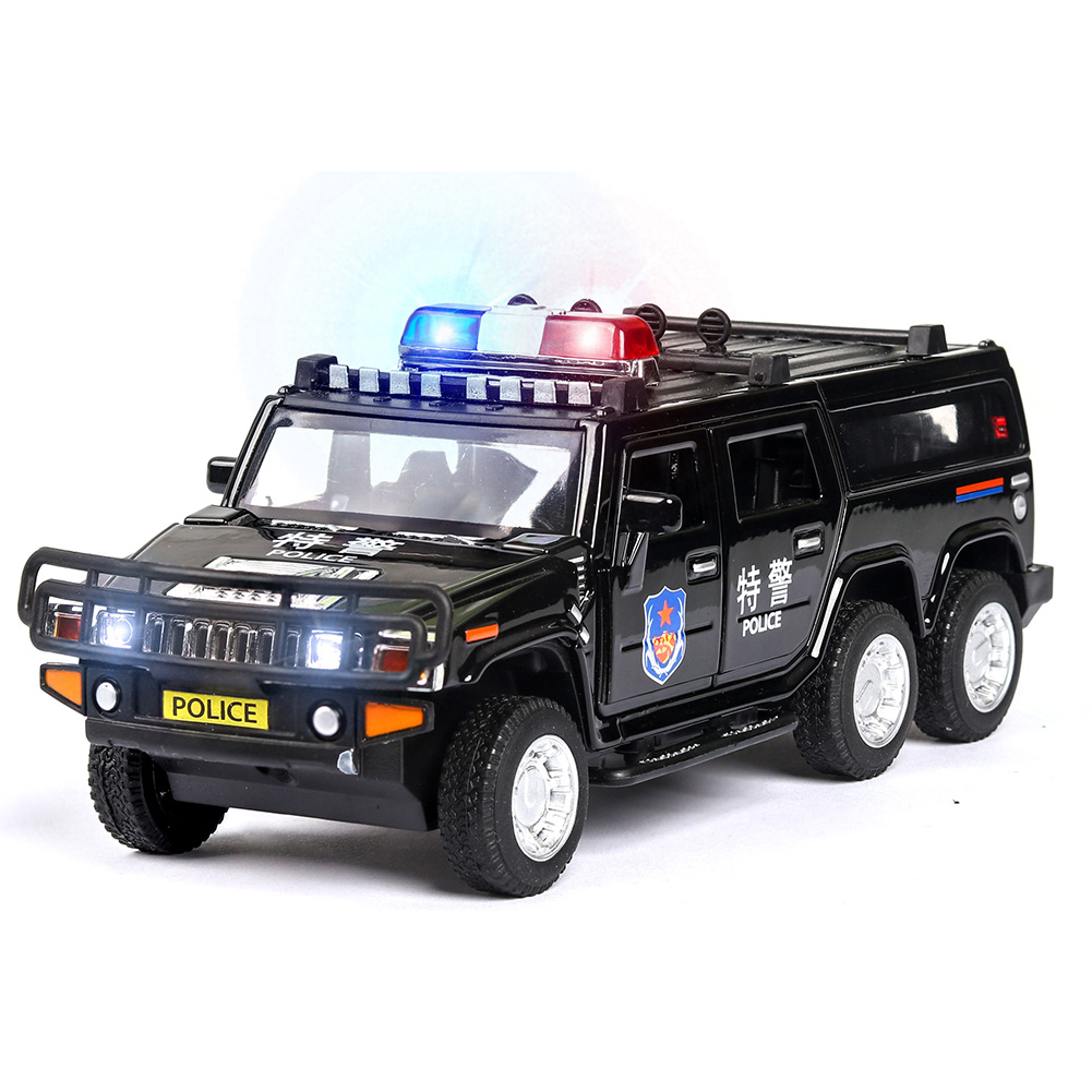 1:32 Kids Police Car Toy with Lights Sounds Effects Alloy Body Hood Trunk Doors Can be Opened Swat Car