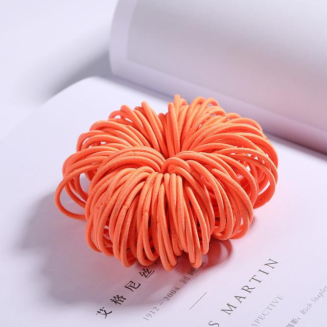 100 Pcs Hair Rope Cute Elastic Hair Ring Headband for Girls Orange