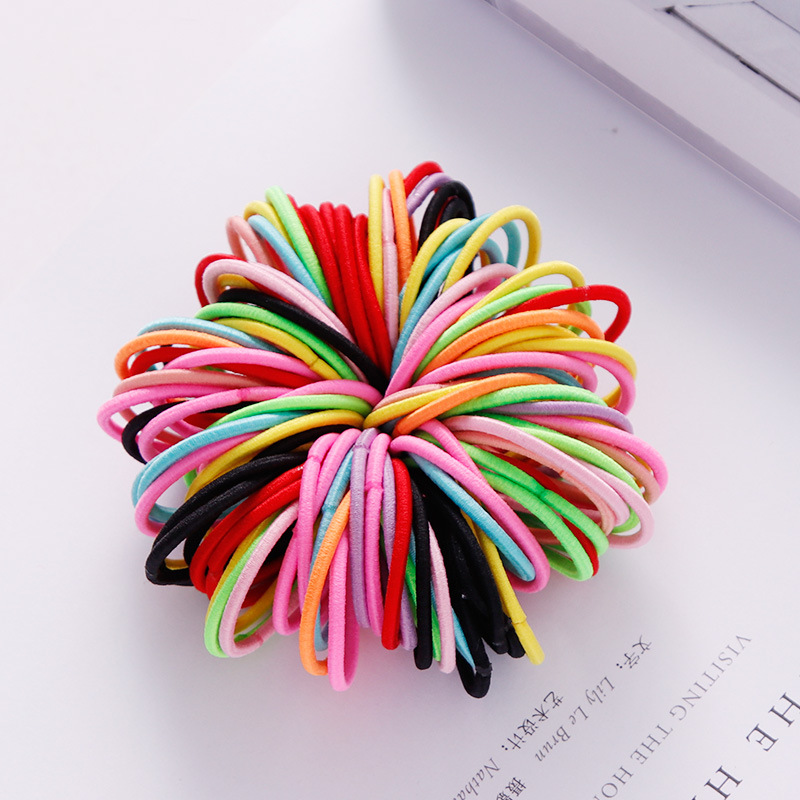 100 Pcs Hair Rope Cute Elastic Hair Ring Headband for Girls Color mixing