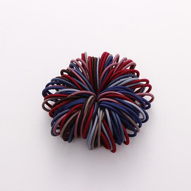 100 Pcs Hair Rope Cute Elastic Hair Ring Headband for Girls Dark color