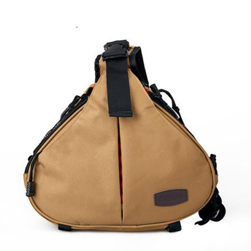 Waterproof DSLR Shoulder Camera Bag with Rain Cover Travel Triangle Sling Bag for Sony Nikon Canon Digital Camera Khaki