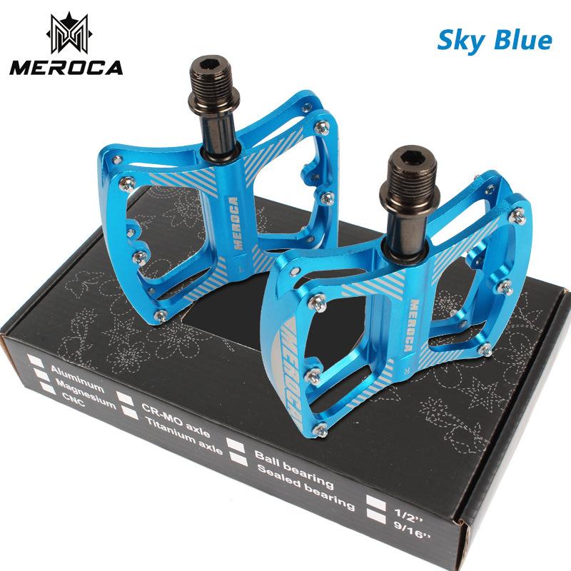 MEROCA Mountain Bike Pedal witn 3 Bearings Aluminum Alloy Bearing Ultra-light Pedal Sky blue