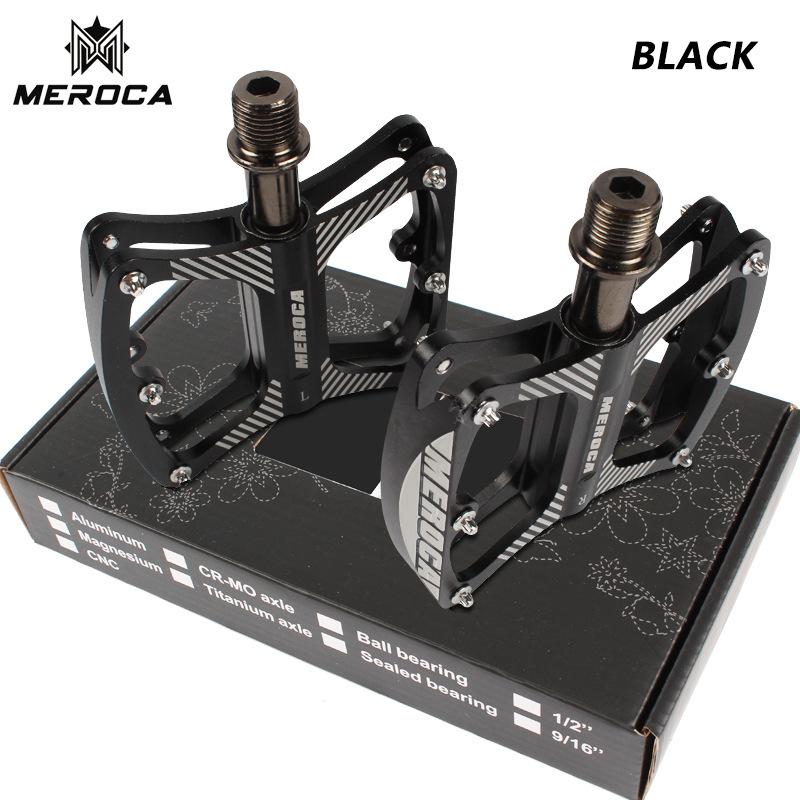 MEROCA Mountain Bike Pedal witn 3 Bearings Aluminum Alloy Bearing Ultra-light Pedal black