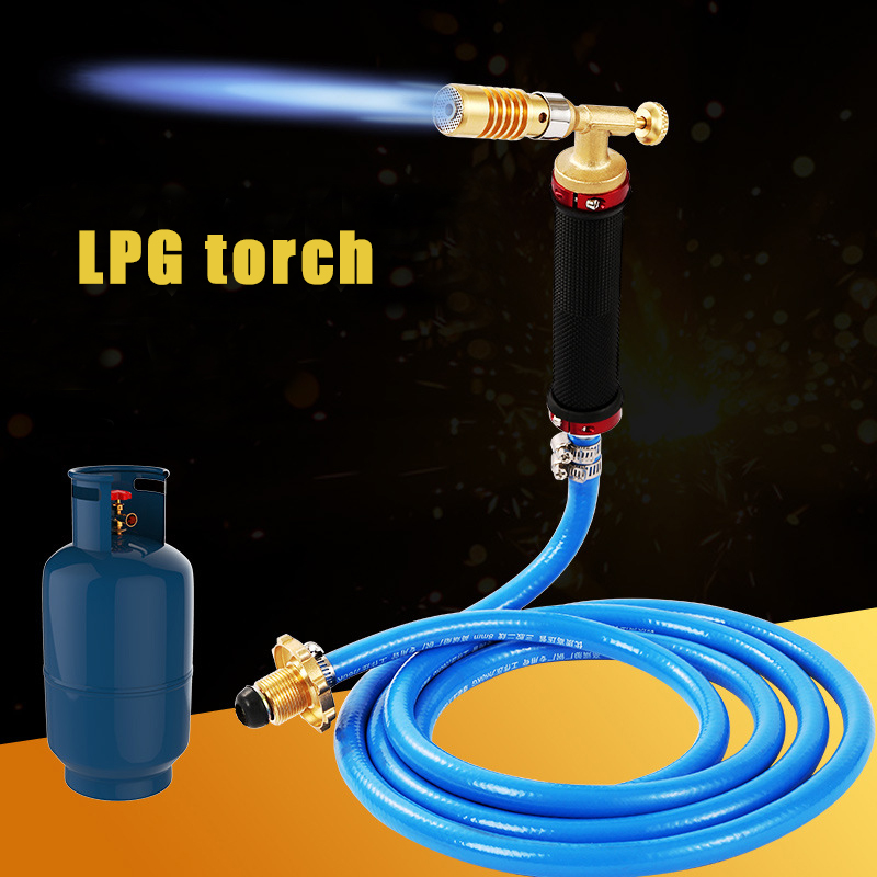 Liquefied Propane Gas Electronic Ignition Welding Torch Machine Equipment with 2.5M Hose for Soldering Weld Cooking Heating All copper welding torch