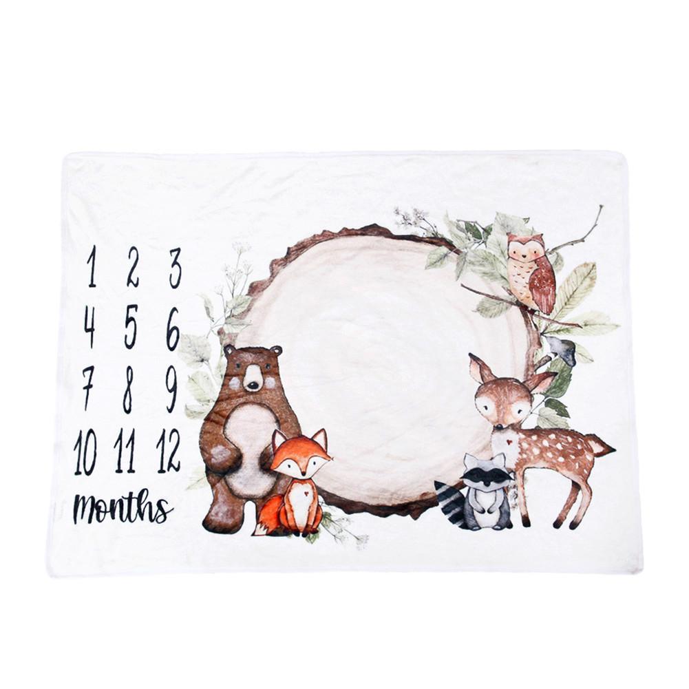 Baby Blanket Soft  Flannel Photography  Monthly  Photo Newborn Children Crawling  Blanket Flannel: Stump Bear