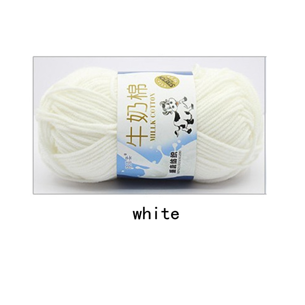 Hand Knitting Cotton Knitting Wool Doll Thread for Knitting Scarves Gloves Clothes white