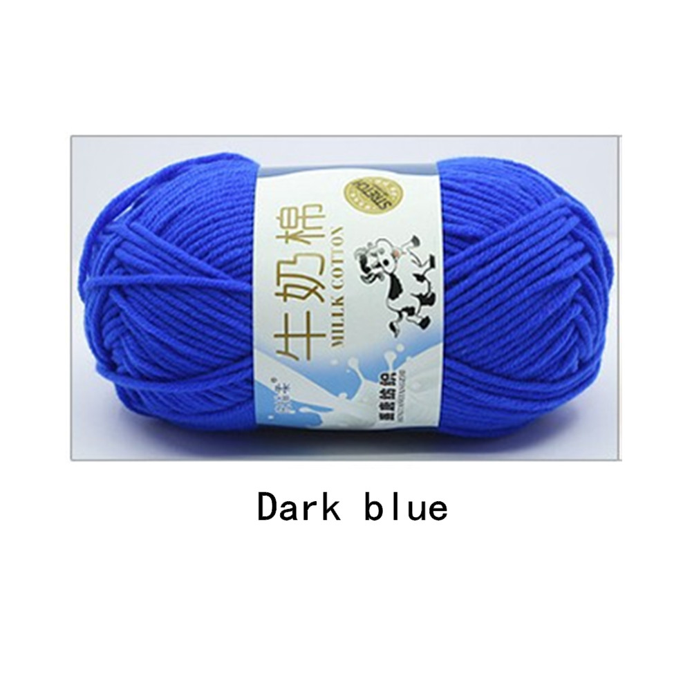 Hand Knitting Cotton Knitting Wool Doll Thread for Knitting Scarves Gloves Clothes Dark blue