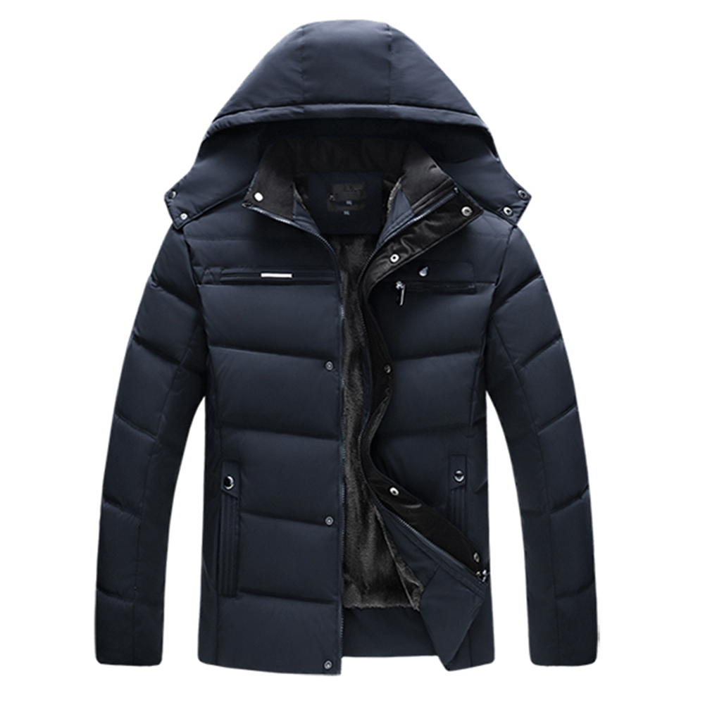 Men's and Women's Cotton Coat Winter Slim-fitting Cotton Jacket Navy blue plus velvet_2XL