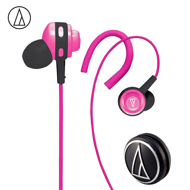Original Audio-Technica ATH-COR150 Wired Earphone In-ear Sport Headset Adjustable Ear-hook Headphone Sweatproof Design Pink