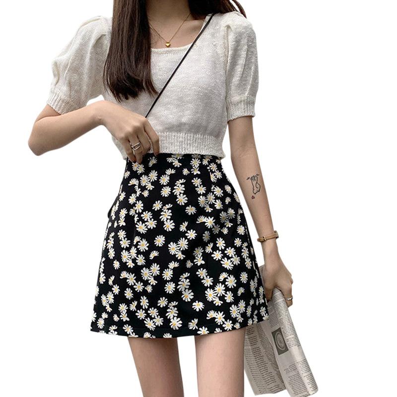 Women Skirt Daisy Print High Waist Casual Slim Fresh Summer A-line Skirt black_L