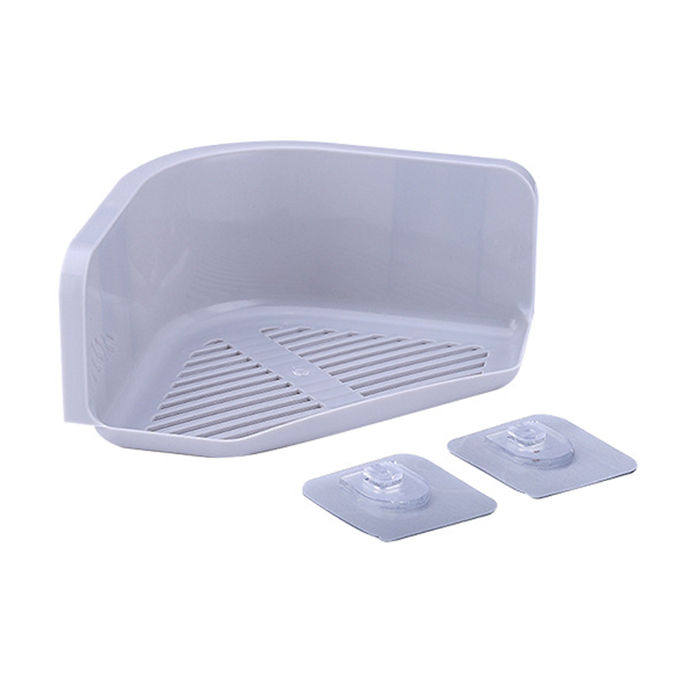 Plastic Corner Storage Rack with Seamless Adhesive Shower Shelf Organizer for Kitchen Bathroom Decoration  gray_Single layer