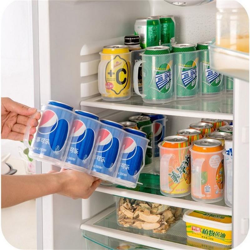 Plastic Beer Soda Can Storage Holder for Refrigerator Fridge Organizer Rack Kitchen Space Saver Holders 29.5 * 7 * 10.5CM
