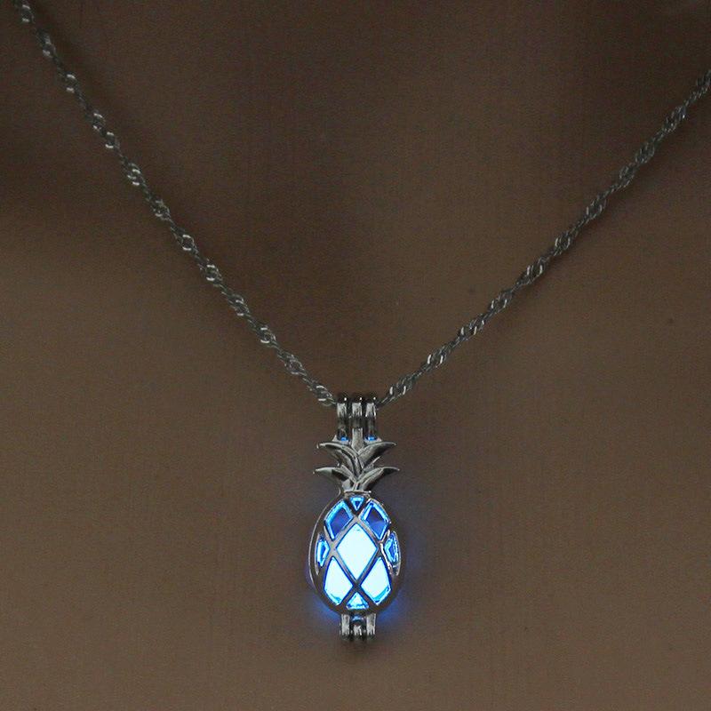 Luminous Alloy Open Cage Mermaid Skull Head Necklace DIY Pendant Halloween Glowing Jewelry Gift NY254-Pineapple