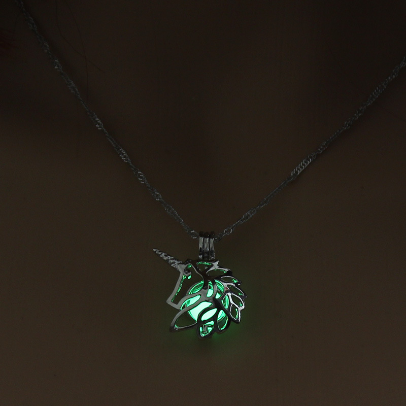 Luminous Alloy Open Cage Mermaid Skull Head Necklace DIY Pendant Halloween Glowing Jewelry Gift NY252-Unicorn