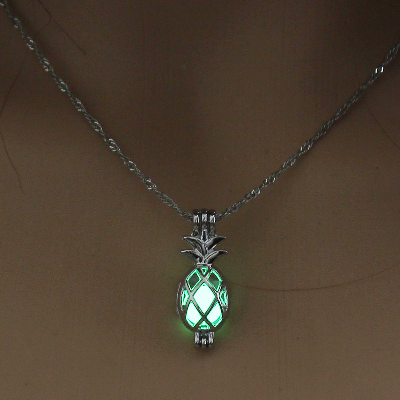 Luminous Alloy Open Cage Mermaid Skull Head Necklace DIY Pendant Halloween Glowing Jewelry Gift NY255-Pineapple