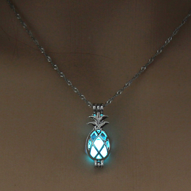 Luminous Alloy Open Cage Mermaid Skull Head Necklace DIY Pendant Halloween Glowing Jewelry Gift NY253-Pineapple