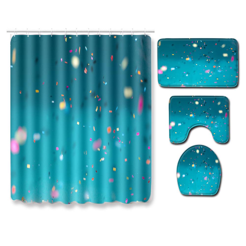 4pcs Shower  Curtain Non-slip Rug Toilet  Lid  Cover Bath  Mat For  Bathroom pj19912-a012_Shower curtain 180*180cm+three-piece set 50*80cm
