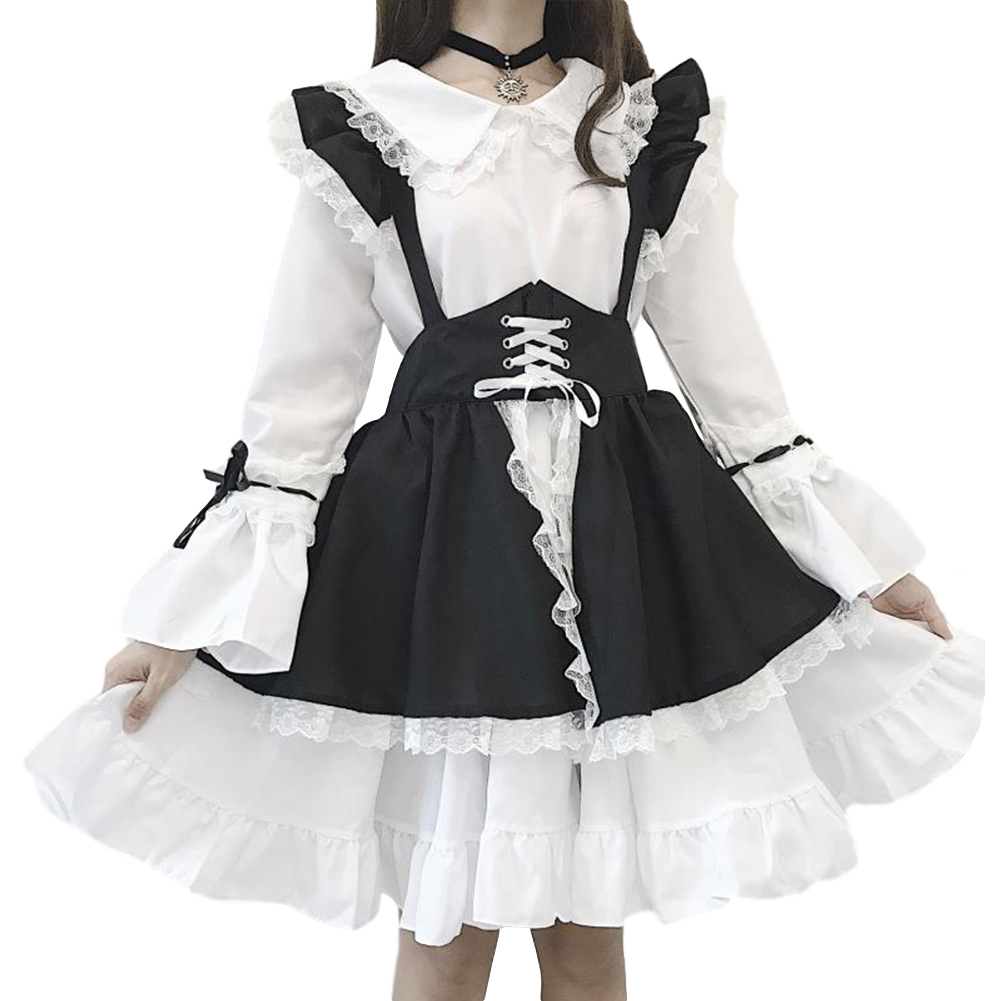 Women Cute Lolita Maid Dress Black Apron Headdress Hair Band Bowknot Set 5Pcs/set_L
