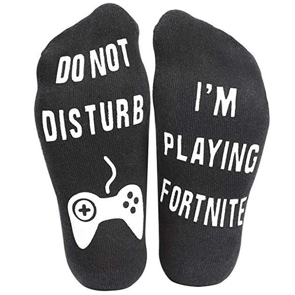 Men/Women Socks with Silica Gel Letters Do Not Disturb I Am Playing Game Funny Socks A type-black with white letters_Short tube