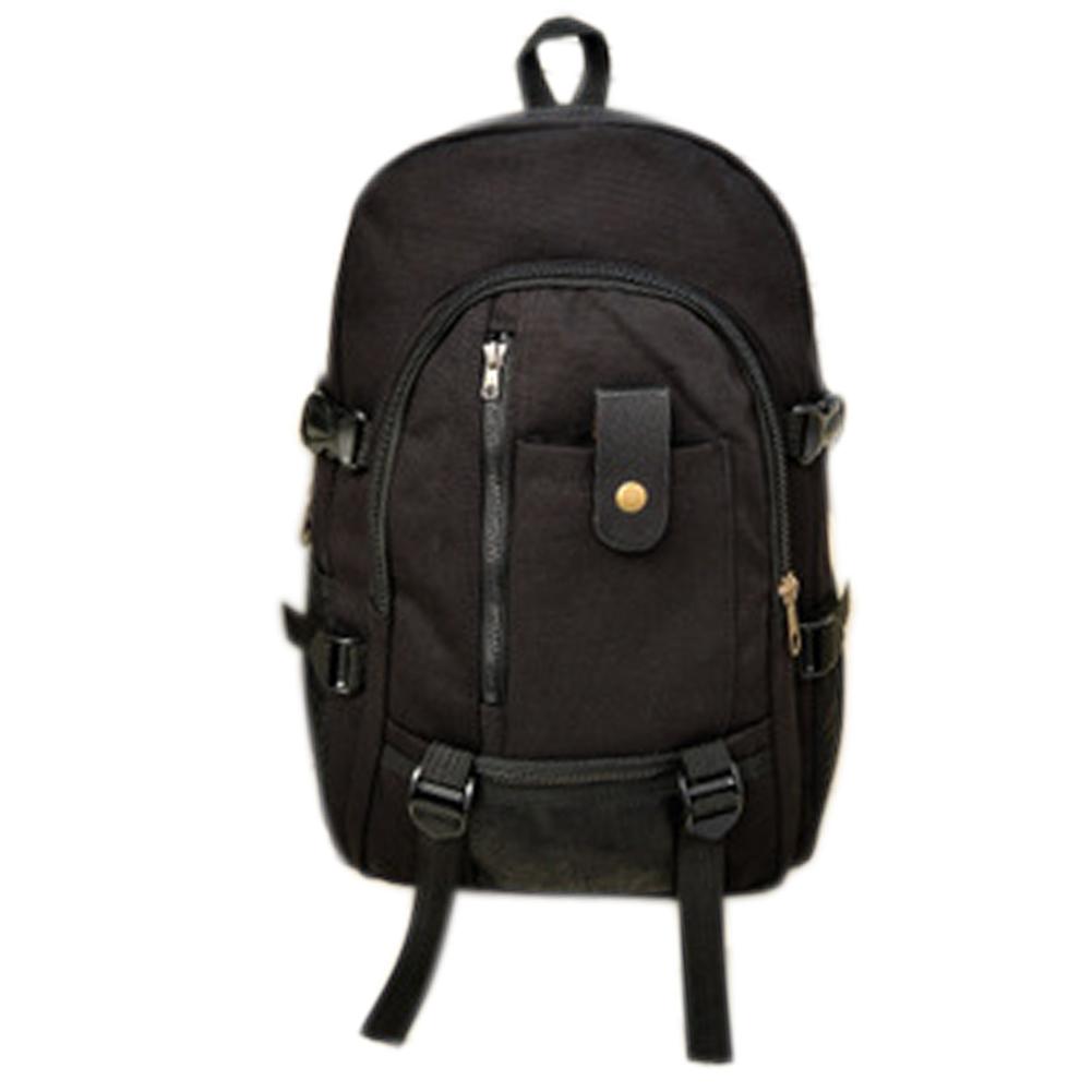 Men's Multi Pockets Canvas Backpack Black
