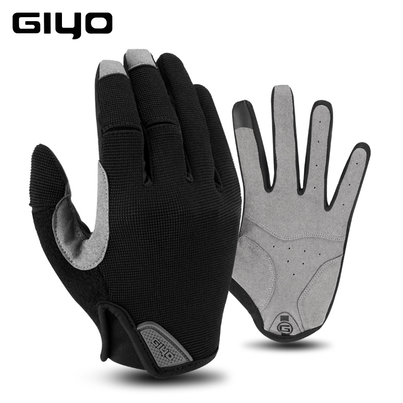 GIYO Winter Cycling Gloves Fishing Gym Bike Gloves MTB Full Finger Cycling Gloves For Bicycle black_L